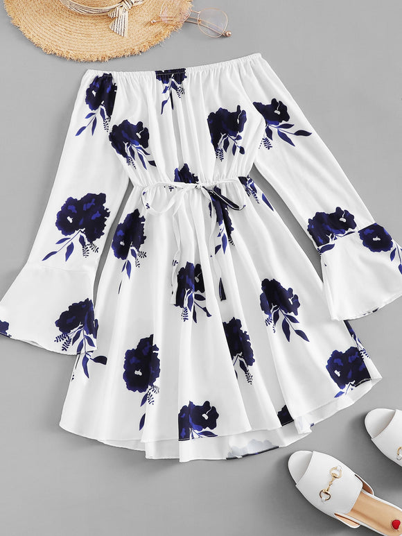 Fluted Sleeve Floral Print Dress