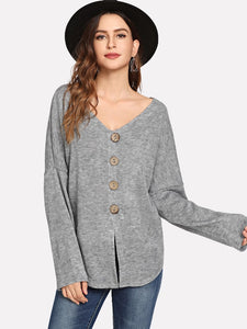 Single Breasted Dip Hem Sweater