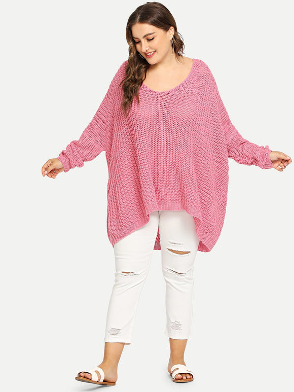 Plus Solid Oversized Dip Hem Sweater - Truly Yours, Fashion