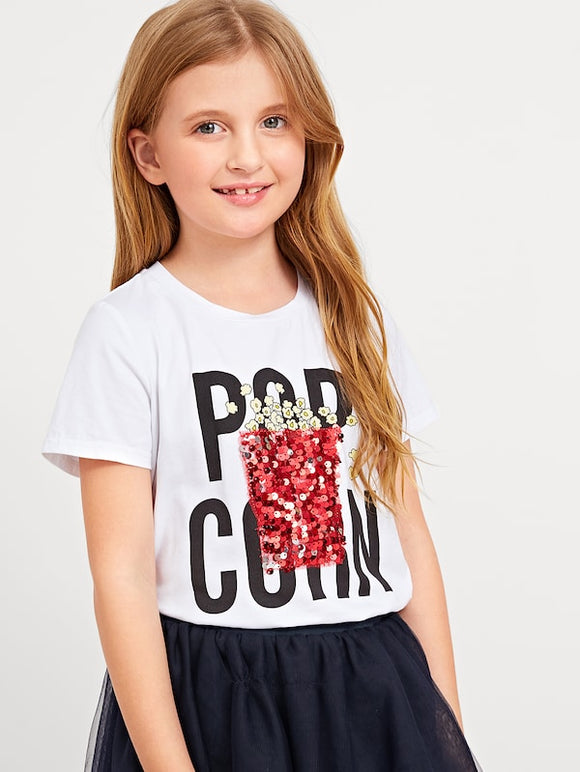 Letter Print with Sequin Detail Tee - Truly Yours, Fashion