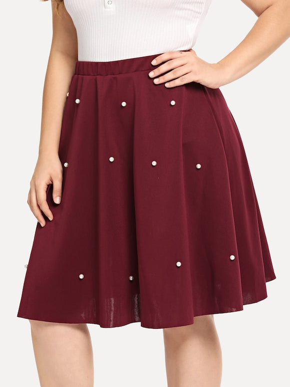 Plus Pearl Beaded Swing Skirt