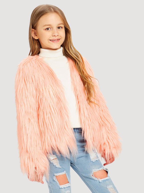 Open Front Faux Fur Jacket - Truly Yours, Fashion
