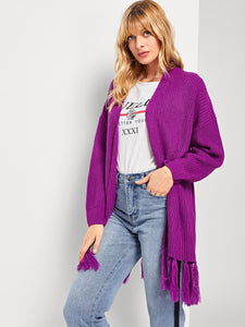 Drop Shoulder Fringe Embellished Longline Cardigan - Truly Yours, Fashion