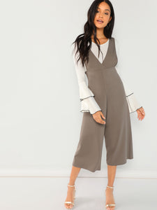 V-Neck Wide Leg Jumpsuit - Truly Yours, Fashion
