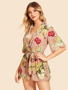 Notched Collar Self Belted Floral Romper - Truly Yours, Fashion