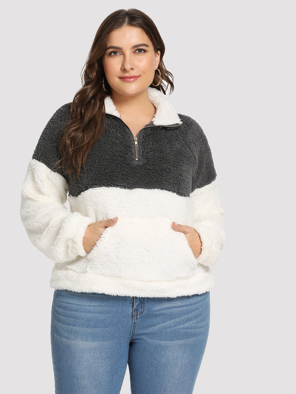 Plus Quarter Zip Teddy Sweatshirt - Truly Yours, Fashion