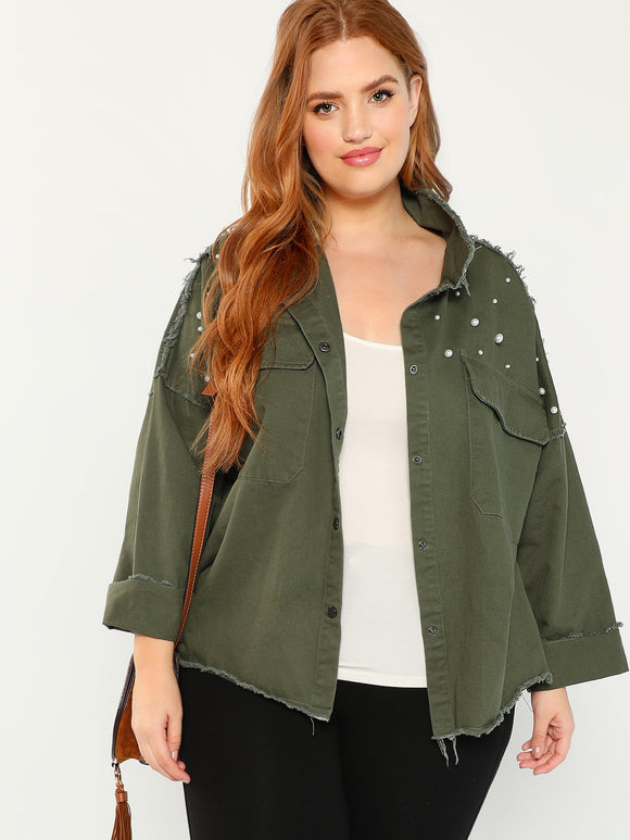 Plus Drop Shoulder Beaded Jacket - Truly Yours, Fashion