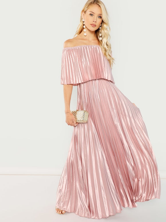 Flounce Off Shoulder Pleated Satin Dress - Truly Yours, Fashion