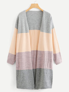 Plus Color Block Open Front Cardigan - Truly Yours, Fashion