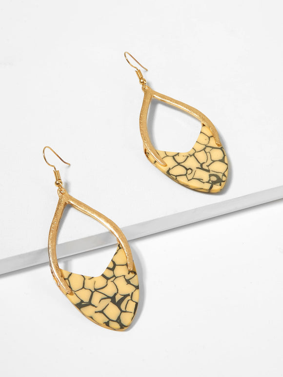 Marble Pattern Open Drop Earrings - Truly Yours, Fashion