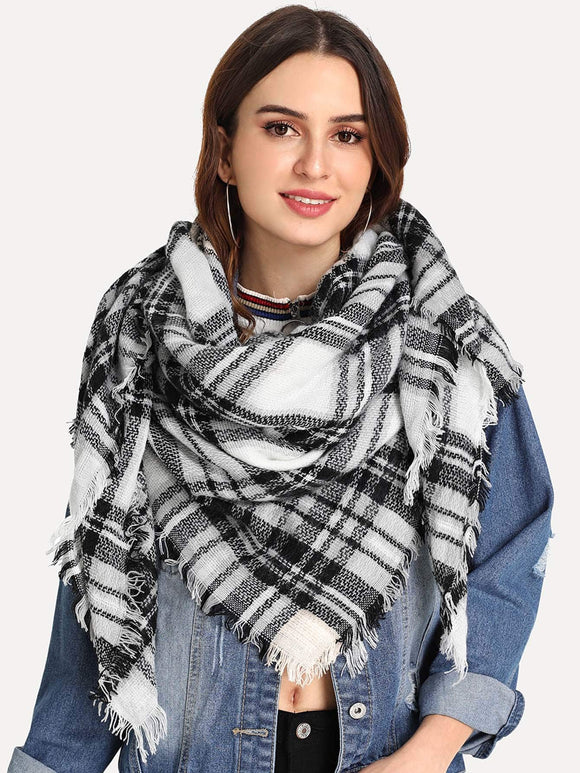 Frayed Trim Plaid Scarf - Truly Yours, Fashion