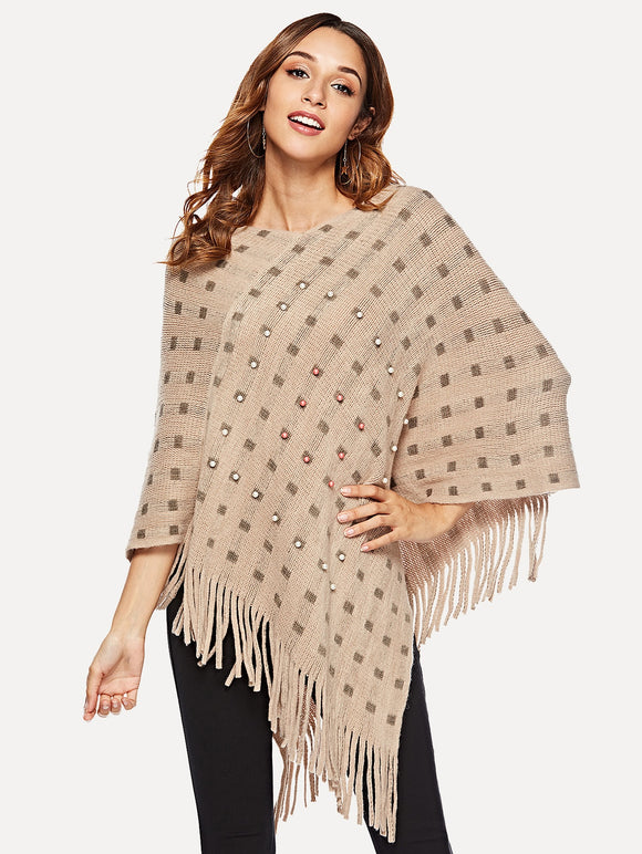 Pearl Beaded Fringe Hem Poncho Sweater - Truly Yours, Fashion
