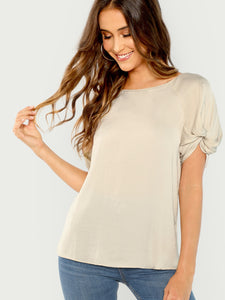 Short Sleeve Twist Detail Slinky Blouse - Truly Yours, Fashion