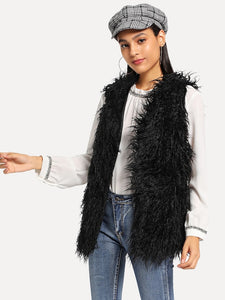 Faux Fur V-Neck Shell Coat - Truly Yours, Fashion