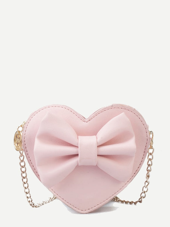 Kids Bow Decor Heart Shaped Bag - Truly Yours, Fashion