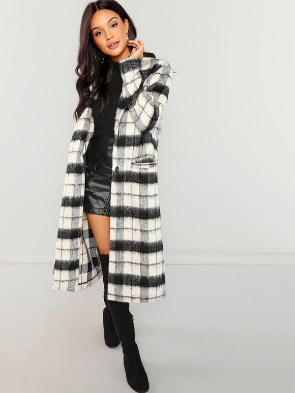 Button Up Fuzzy Plaid Coat - Truly Yours, Fashion