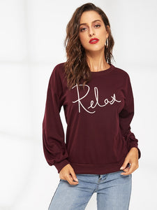 Letter Embroidered Drop Shoulder Sweatshirt - Truly Yours, Fashion