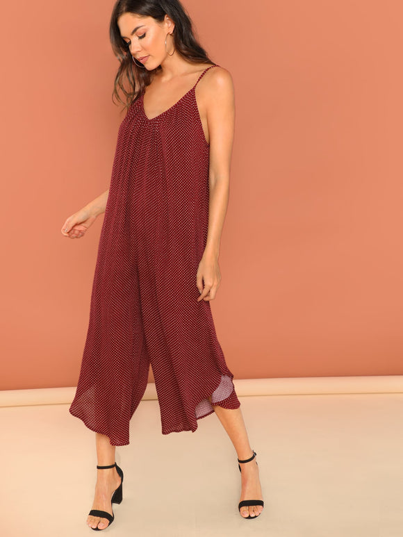 Polka Dot Print Shirred Cami Harem Jumpsuit - Truly Yours, Fashion
