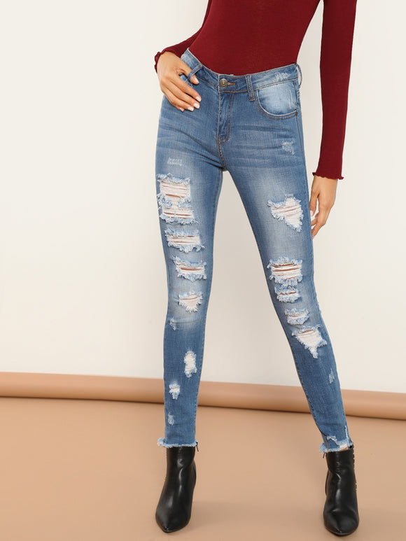 Shredded Destroyed Skinny Raw Cut Hem Jeans - Truly Yours, Fashion