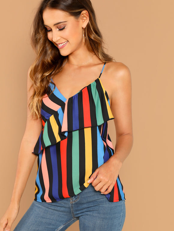 Striped Sleeveless Criss Cross Ruffle Trim Cami - Truly Yours, Fashion