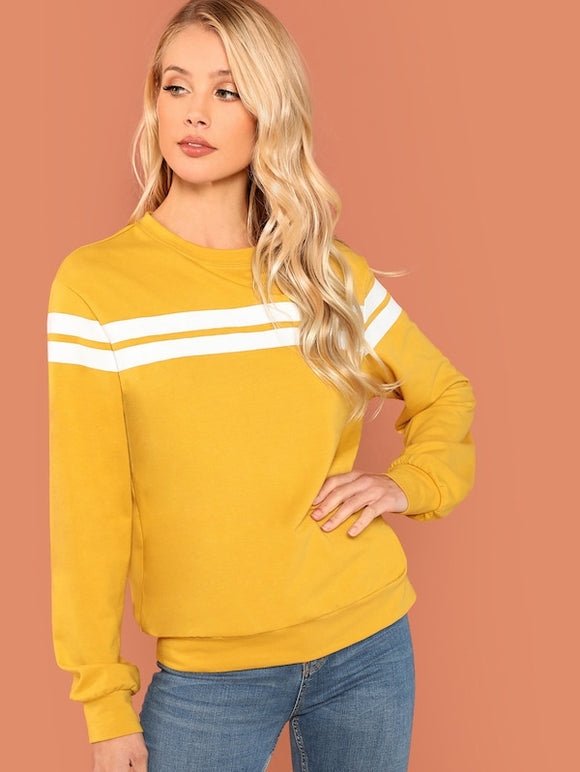 Striped-panel Pullover