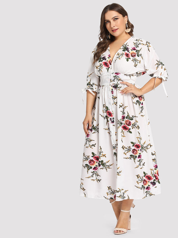 Plus Knotted Sleeve Button Up Floral Dress
