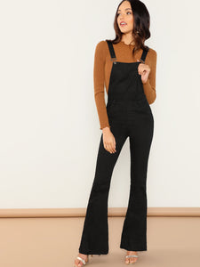 Adjustable Strap Flare Leg Pinafore Jumpsuit - Truly Yours, Fashion
