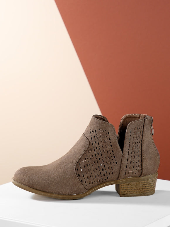 Almond Toe Stacked Low Heel Perforated Ankle Boots - Truly Yours, Fashion