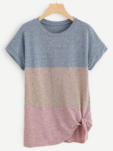 Color-Block Twist Front Tee - Truly Yours, Fashion