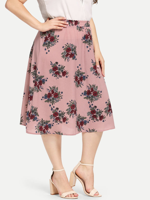 Plus Waist Elastic Flower Print Skirt