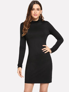 Mock Neck Slim Fitted Dress - Truly Yours, Fashion