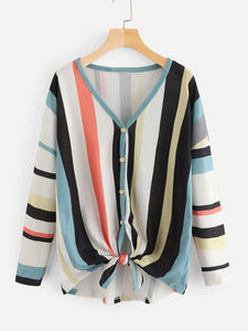 Striped Single-breasted Blouse - Truly Yours, Fashion