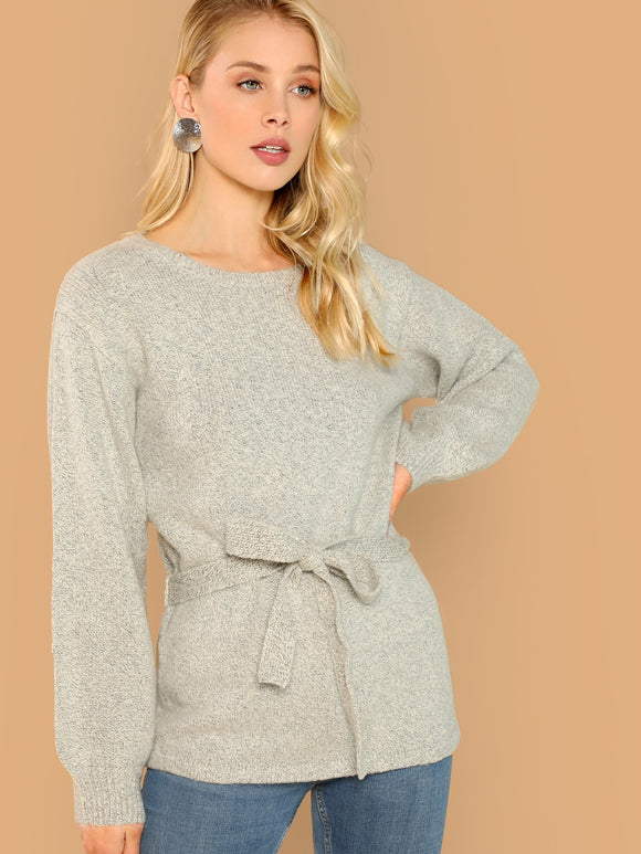 Round Neck Waist Tie Soft Knit Pullover Sweater - Truly Yours, Fashion