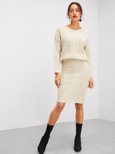 Eyelet Detail Mixed Knit Top & Skirt Set - Truly Yours, Fashion