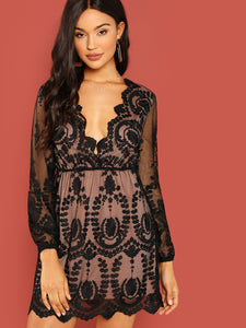 Plunging Neck Embroidered Mesh Dress