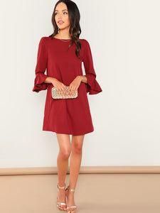 Bell Sleeve Solid Dress - Truly Yours, Fashion