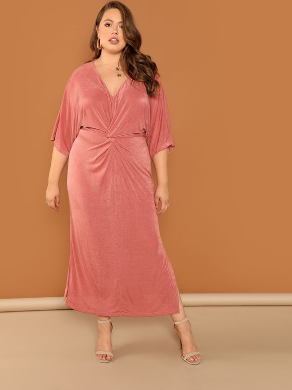 Plus Twist Front Velvet Split Dress