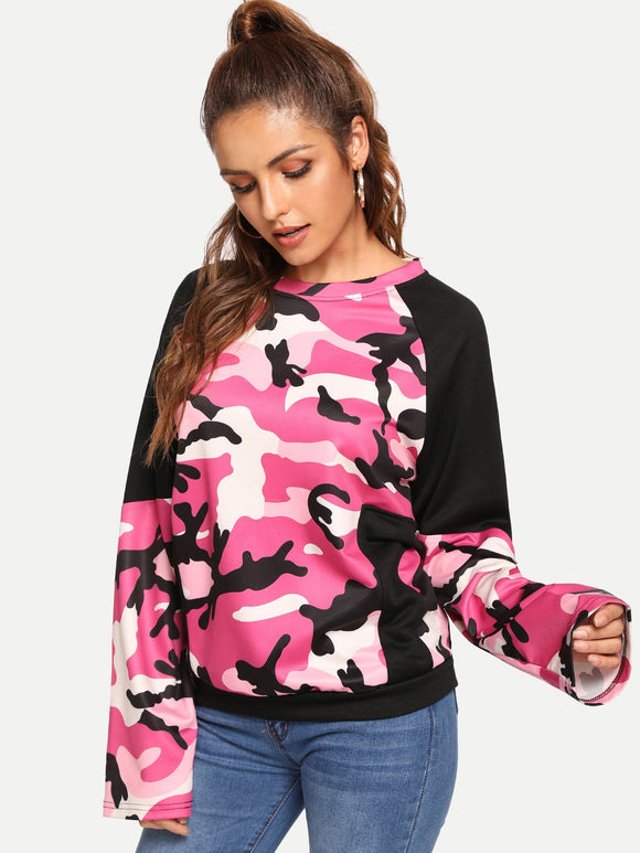 Camo Print Panel Sweatshirt - Truly Yours, Fashion