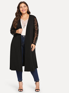 Plus Contrast Lace Solid Coat - Truly Yours, Fashion