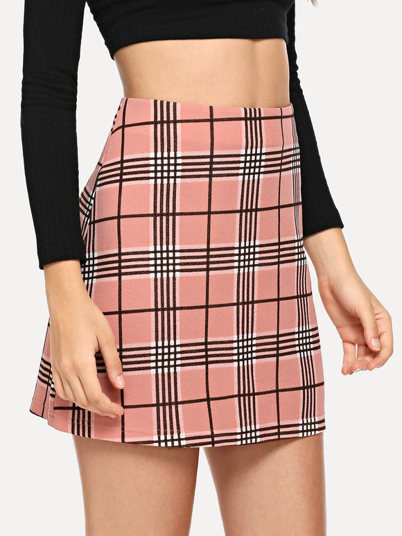 Zip Closure Plaid Skirt