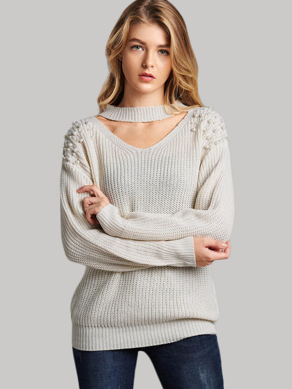 Choker Neck Beaded Decoration Jumper - Truly Yours, Fashion