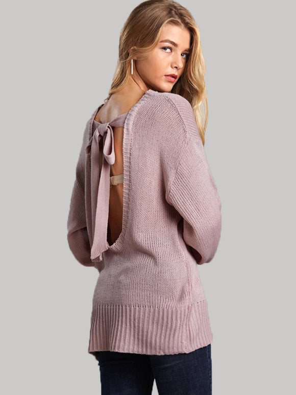 Knot Back Solid Sweater