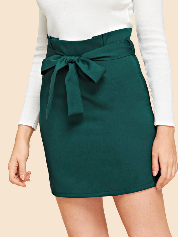Ruffle Waist Belted Skirt - Truly Yours, Fashion