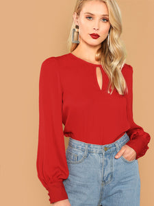 Keyhole Front Bishop Sleeve Top - Truly Yours, Fashion