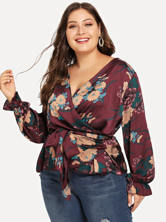 Plus Floral Print V-Neck Blouse