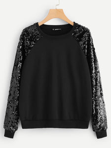 Contrast Sequin Raglan Sleeve Pullover - Truly Yours, Fashion
