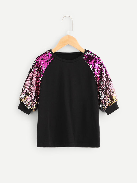 Sequin Raglan Sleeve Tee - Truly Yours, Fashion