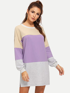 Color Block Sweatshirt Dress - Truly Yours, Fashion