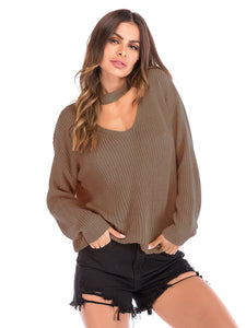 Choker Neck Solid Sweater