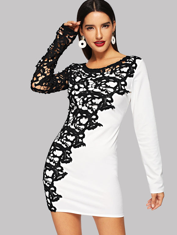 Floral Lace Overlay Round Neck Dress - Truly Yours, Fashion